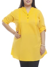 Pin Tucked Roll-up Sleeves Cotton Tunic - PLUSS