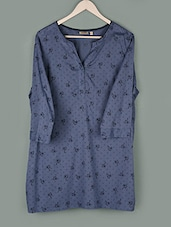 Blue Printed Cotton Top - PLUSS