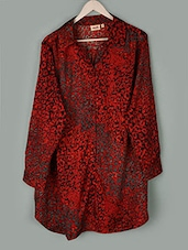 Red Printed Long Sleeves Crepe Top - PLUSS