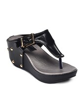 black faux leather toe separator wedges -  online shopping for wedges