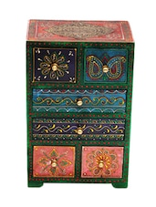 6 Drawer Embossed Wooden Chest - Woodworks - 1028859