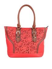 Solid Red Cutwork Handbag - LOZENGE