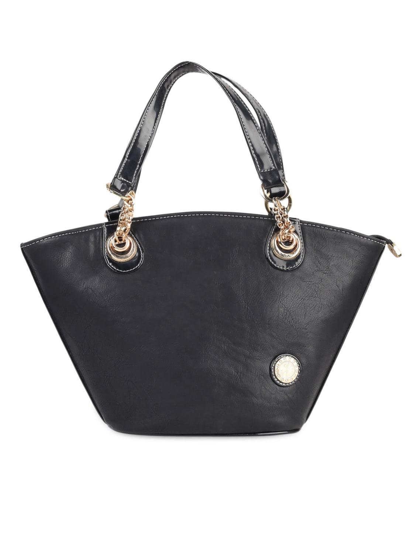 Solid Black PU Handbag - LOZENGE