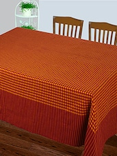 Dhrohar Hand Woven Cotton Table Cover For 4 Seater Table - Orange Check - By