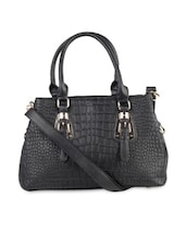 Textured Black Formal Handbag - LOZENGE