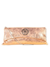 Metallic Pink Embellished Textured Clutch - LOZENGE