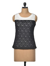 Black And White Lace Contrast Top - RUTE