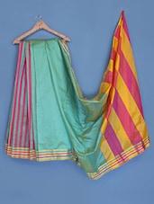 Stripes Zari Border Silk Saree - INDI WARDROBE