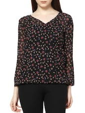 Printed Overlap Front Polyester Top - MARTINI