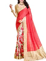 red, multi bhagalpuri silk saree -  online shopping for Sarees
