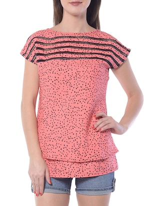 pink poly crepe top
