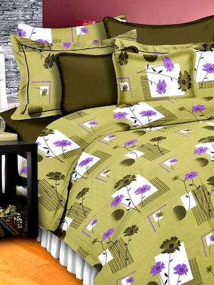 Green Cotton Floral Printed Double Bedsheet Set