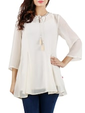 Uvr 3/4th Sleeve Georgette Solid Beige Dress -  online shopping for Tunics