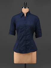 Solid Navy Blue Cotton Shirt - Being Fab