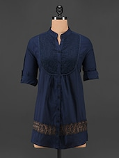 Mandarin Collar Navy Blue Lace Top - Being Fab