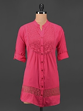 Mandarin Collar Pink Lace Top - Being Fab