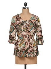 Paisley Printed Polycrepe Top - SS