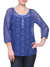3/4 The Sleeve Front Placket Lace Top - KARYN