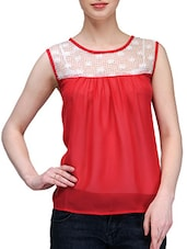 Red Lace Yoke Sheer Chiffon Top - KARYN