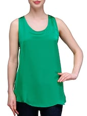 Solid Green Satin Sleeveless Tank Top - KARYN
