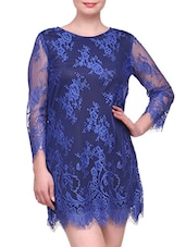 3/4 Sleeve Nylon Flower Lace Dress - KARYN
