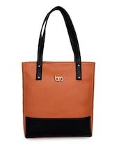 Brown Leatherette Color Block Handbag - Bagsy Malone - 1030239