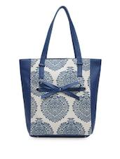 Blue Leatherette Printed Handbag - Bagsy Malone