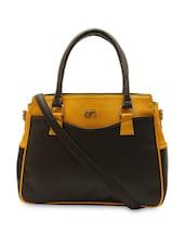 Brown Leatherette Color Block Handbag - Bagsy Malone