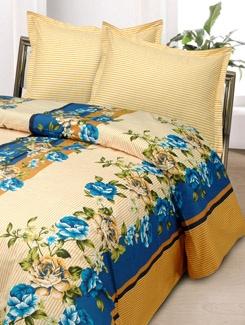 Blue And Off-White BedSheet Set - Aqua Marine