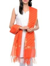 Orange Cotton Printed  Dupatta - By