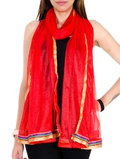 Red Net Plain  Dupatta - By