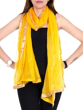 Yellow Net Plain  Dupatta - By