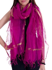 Purple Silk Blend Plain  Dupatta - By