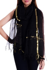 Black Silk Blend Plain  Dupatta - By