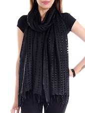 Black Cotton Plain  Dupatta - By