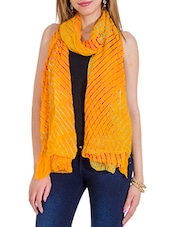Yellow Chiffon Leheria Dupatta - By