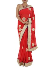 Red Heavy Bordered Georgette Gota Saree - Manaysa