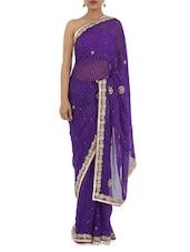 Purple Leheriya Georgette Saree With Hand Work - Manaysa