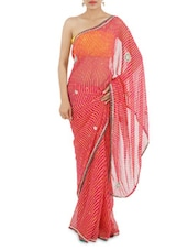 Pink -Yellow Leheriya Embroidered Georgette Saree - Manaysa
