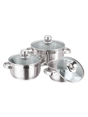 Stainless Steel Saucepot (Set Of 3) -  online shopping for Sauce & Saute Pans