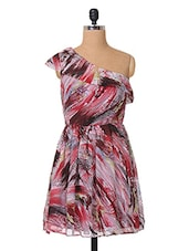 Multicolor Abstract Printed Georgette Dress - The Vanca