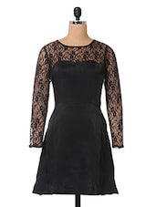 Black Floral Lace Polyvelvet Dress - The Vanca
