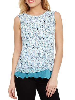 the vanca sky blue printed and layered georgette top