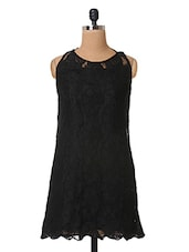Black Plain Solid Lace Dress - The Vanca