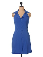 Blue Shirt Collar Cotton Dress - The Vanca