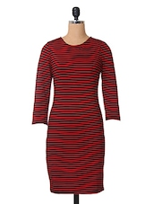 Red Stripe Printed Viscose Dress - The Vanca