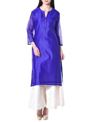 kaanchie Nanggia Royal blue Chanderi kurta