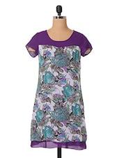 Blue Floral Printed Georgette Dress - The Vanca