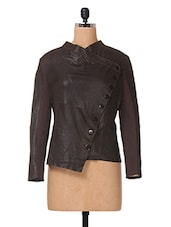 Brown Plain Solid Leather & Cotton Jackets - The Vanca