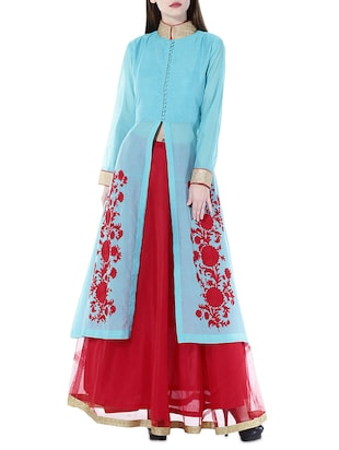 Kaanchie Nanggia Turquoise and red longh and embroidered jacket and skirt set